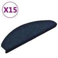 vidaXL Trappstegsmattor självhäftande 15 st marinblå 65x21x4 cm brodyr
