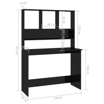 vidaXL Skrivbord med hyllor svart högglans 110x45x157 cm spånskiva