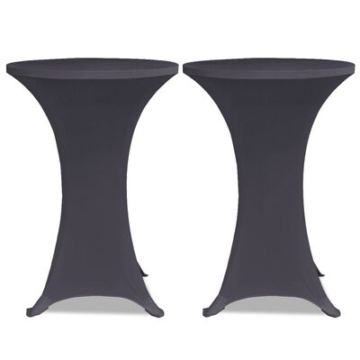 vidaXL Elastiskt bordsöverdrag 2 st 80 cm antracit