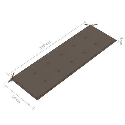 vidaXL Trädgårdsbänk med taupe dyna 150 cm massiv teak, Taupe
