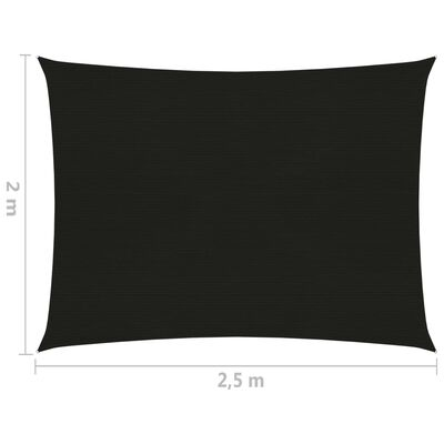 vidaXL Solsegel 160 g/m² svart 2x2,5 m HDPE