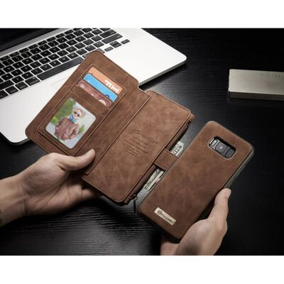 CASEME Samsung Galaxy S8 Retro läder plånboksfodral - Brun