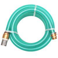 vidaXL Sugslang med koppling i mässing 15 m 25 mm grön
