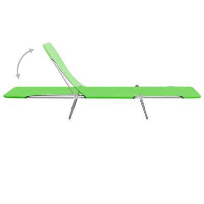 vidaXL Hopfällbara solsängar 2 st stål och tyg grön
