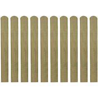 vidaXL Impregnerade staketribbor 10 st trä 80 cm