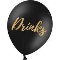 Ballonger Svarta med Guldfärgad Text Drinks 5-pack