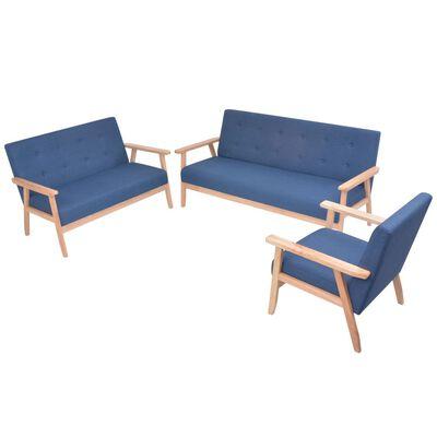 vidaXL Soffuppsättning 3 st tyg blå, Blå