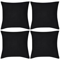 4 Kuddöverdrag i bomull svarta 80 x 80 cm