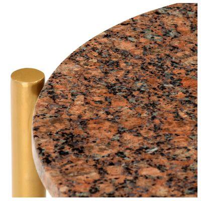 vidaXL Soffbord brun 40x40x40 cm äkta sten med marmorstruktur