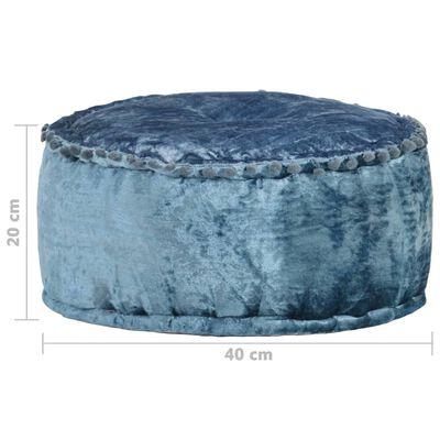 vidaXL Rund sammetspuff 40x20 cm blå