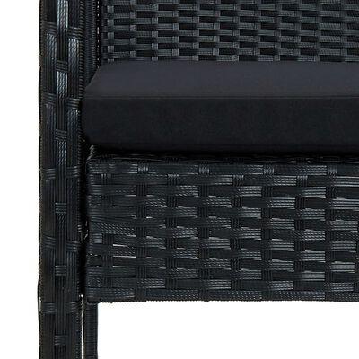 vidaXL Loungegrupp för trädgården med dynor 4 delar konstrotting svart
