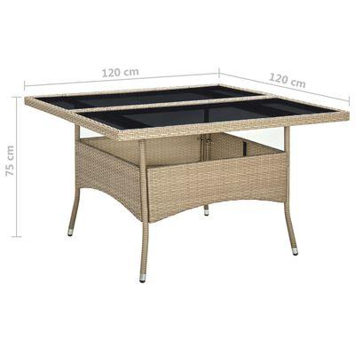 vidaXL Trädgårdsbord beige konstrotting och glas