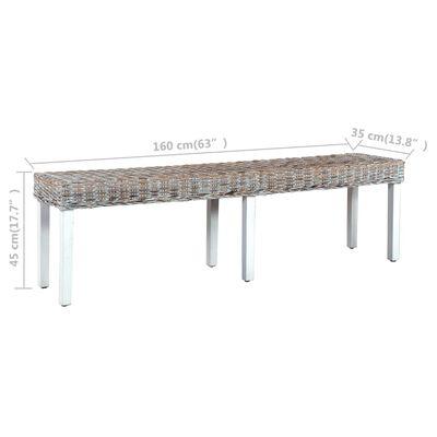 vidaXL Bänk 160 cm vit naturlig kuburotting och massivt mangoträ