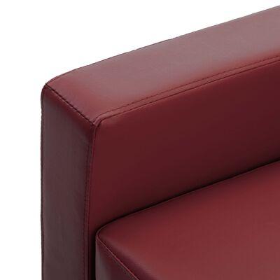 vidaXL 2-sitssoffa vinröd konstläder