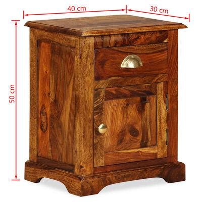 vidaXL Sängbord 40x30x50 cm massivt sheesamträ