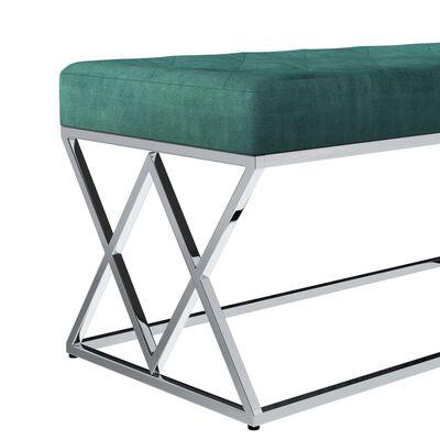 vidaXL Bänk 97 cm grön sammetstyg och rostfritt stål