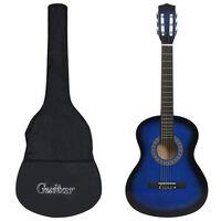 """vidaXL Gitarr för barn och nybörjare 8 delar klassisk blå 3/4 36"""""""