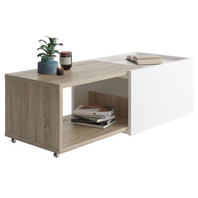 FMD Utdragbart soffbord vit och ek