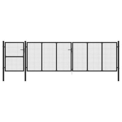 vidaXL Trädgårdsgrind stål 500x125 cm antracit