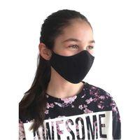 Svart tvättbart tyg munskydd, passar barn och vuxna.-XS