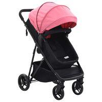 vidaXL 2-i-1 Sitt-/liggvagn rosa och svart stål