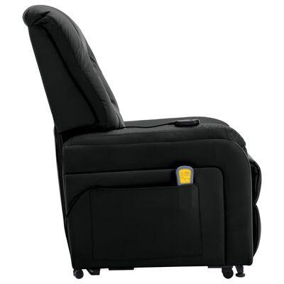 vidaXL Elektrisk massagefåtölj med uppresningshjälp svart konstläder