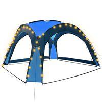 vidaXL Partytält med LED och 4 sidoväggar 3,6x3,6x2,3 m blå