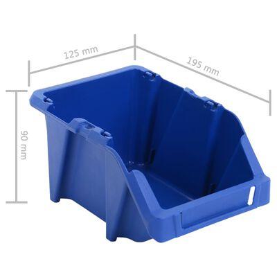 vidaXL Förvaringsbackar 150 st stapelbara 125x195x90 mm blå