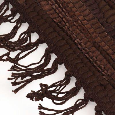 vidaXL Handvävd matta Chindi läder 80x160 cm brun