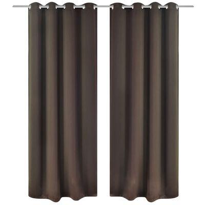 vidaXL Mörkläggningsgardiner med metallringar 2 st 135 x 245 cm brun