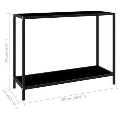 vidaXL Konsolbord svart 100x35x75 cm härdat glas