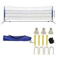 vidaXL Badmintonnät med fjäderbollar 500x155 cm