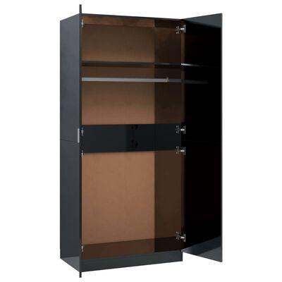 vidaXL Garderob svart högglans 90x52x200 cm spånskiva