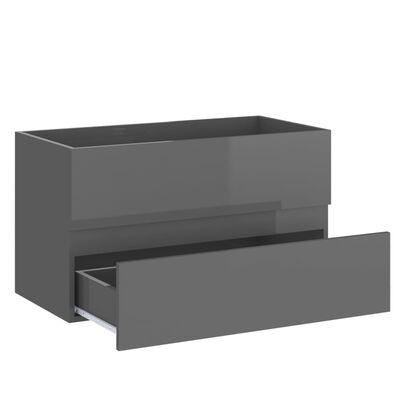 vidaXL Tvättställsskåp grå högglans 80x38,5x45 cm spånskiva