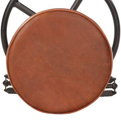 vidaXL Barstolar 2 st svart och brun äkta getskinn