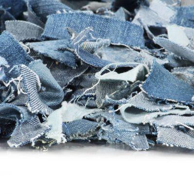 vidaXL Shaggy-matta denim 160x230 cm blå