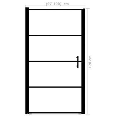 vidaXL Duschdörr härdat glas frostat 100x178 cm svart