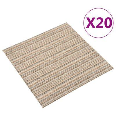 vidaXL Textilplattor 20 st 5 m² 50x50 cm beige ränder, striped beige