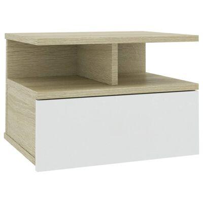 vidaXL Svävande sängbord vit och sonoma-ek 40x31x27 cm spånskiva