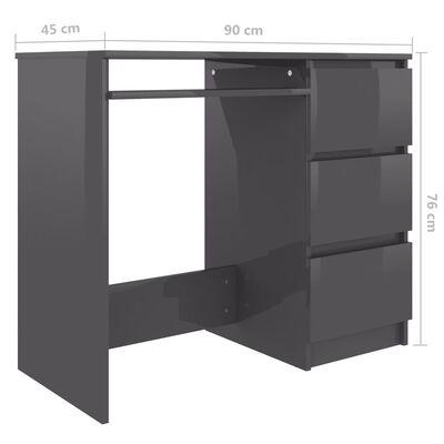 vidaXL Skrivbord grå högglans 90x45x76 cm spånskiva