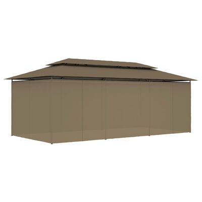 vidaXL Paviljong med draperier 600x298x270 cm taupe 180 g/m²