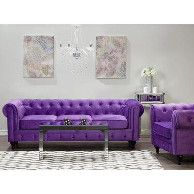 Soffa L sammet lila CHESTERFIELD