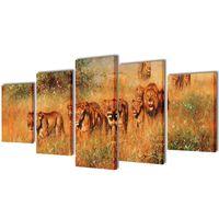 Uppsättning väggbonader på duk: lejon 200 x 100 cm