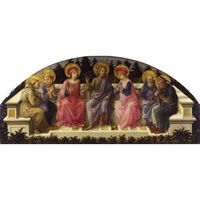 Sts Francis,Lawrence,Cosmas or Damian,Fra Filippo Lippi,100x44cm