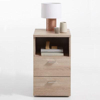 FMD Sängbord med 2 lådor och öppen hylla ek