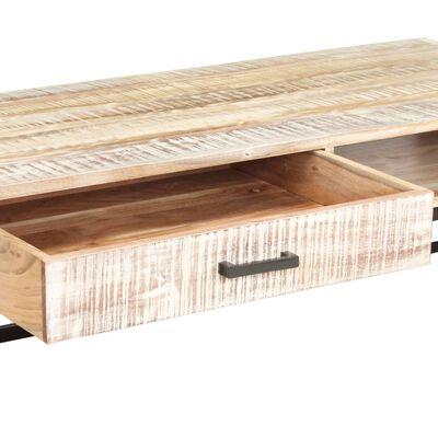 vidaXL Soffbord vit 117x50x30 cm massivt akaciaträ