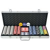 vidaXL Pokerset med 500 laser-marker aluminium