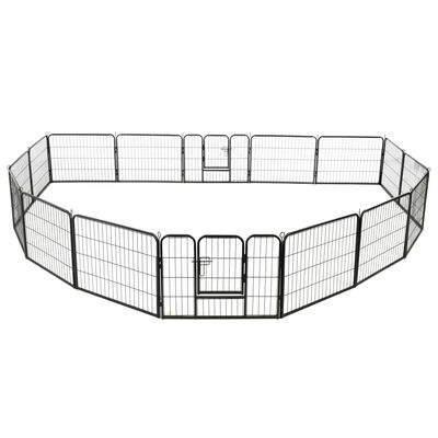 vidaXL Hundhage 16 paneler stål 60x80 cm svart