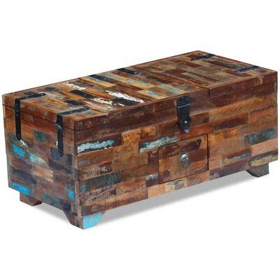 vidaXL Kistbord massivt återvunnet trä 80x40x35 cm