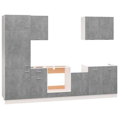 vidaXL Köksskåp set 7 delar betonggrå spånskiva